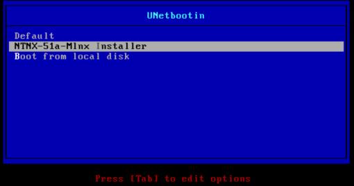 Unetbootin - Nutanix ESXi 5.1 upgrade menu