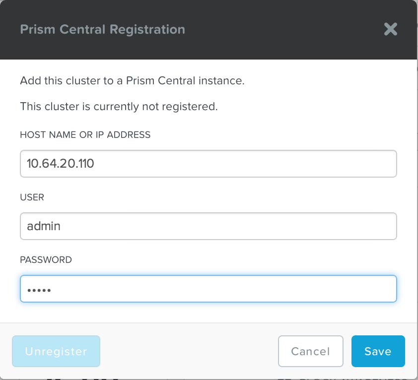 Prism Central - Registration
